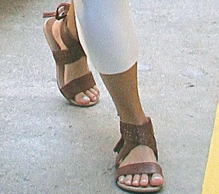 Vanessa Hudgens Bandage Brown Sandals 3