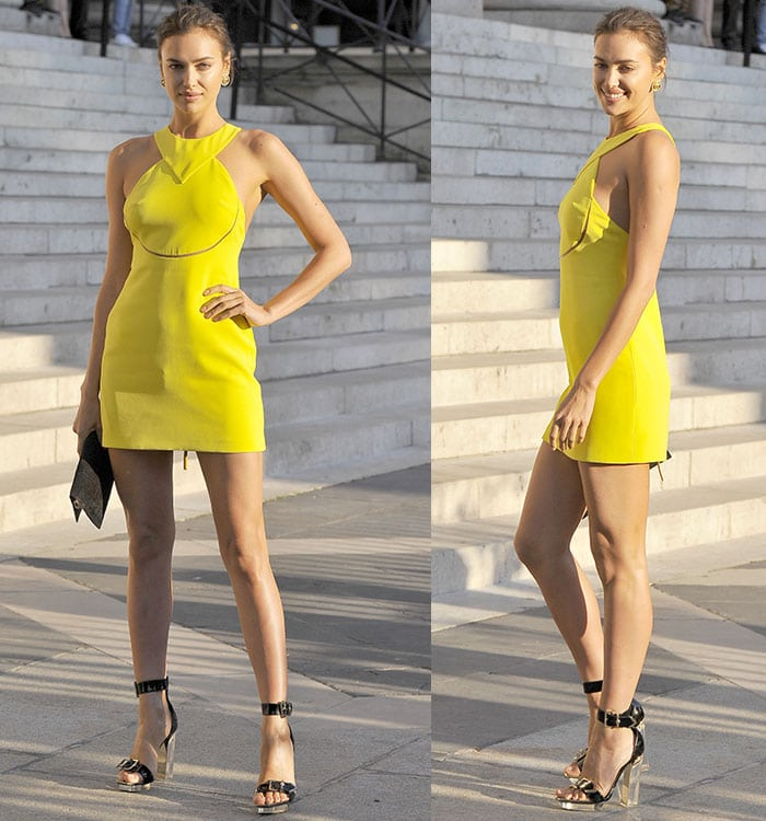 Irina Shayk flaunted her legs at the Atelier Versace show during Paris Haute Couture Fashion Week