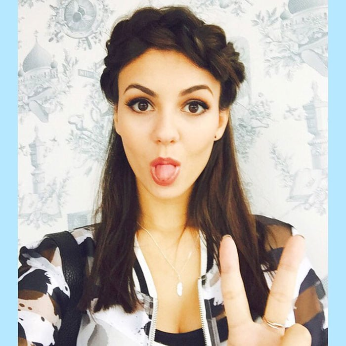 Victoria Justice's first time to try the crown braid hairstyle