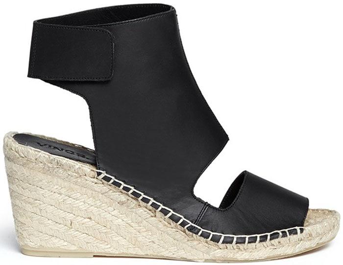 Vince Spencer Leather Espadrille Wedge Sandals