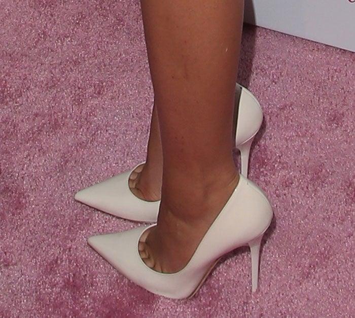 Zendaya showing toe cleavage in Jimmy Choo pumps