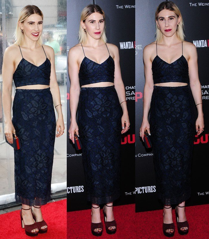 Zosia Mamet wore an unflattering navy two-piece from Houghton