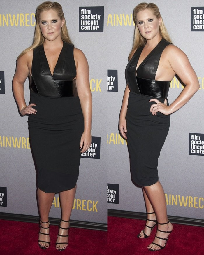 Amy Schumer flashes her curves and legs in a Dion Lee dress