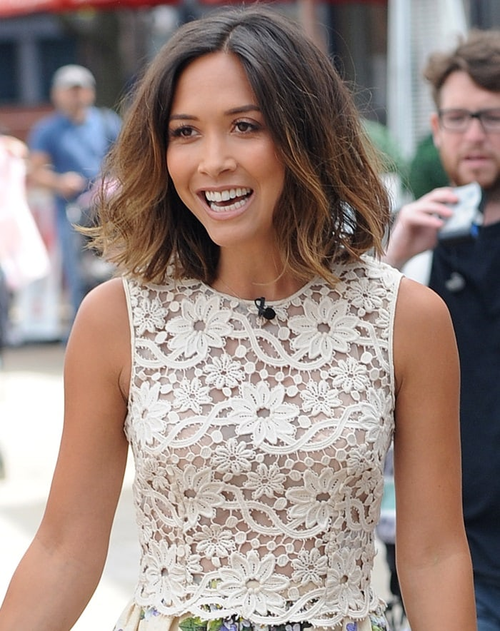 Myleene Klass looked lovely in a white lace top