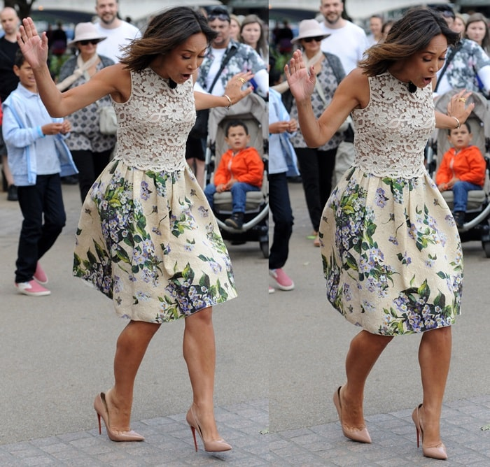"""Myleene Klass almost taking a spill while promoting """"BBQ Champ"""""""