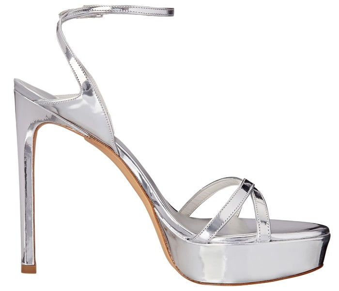 "Stuart Weitzman ""Bebare"" Sandals in Metallic Silver"