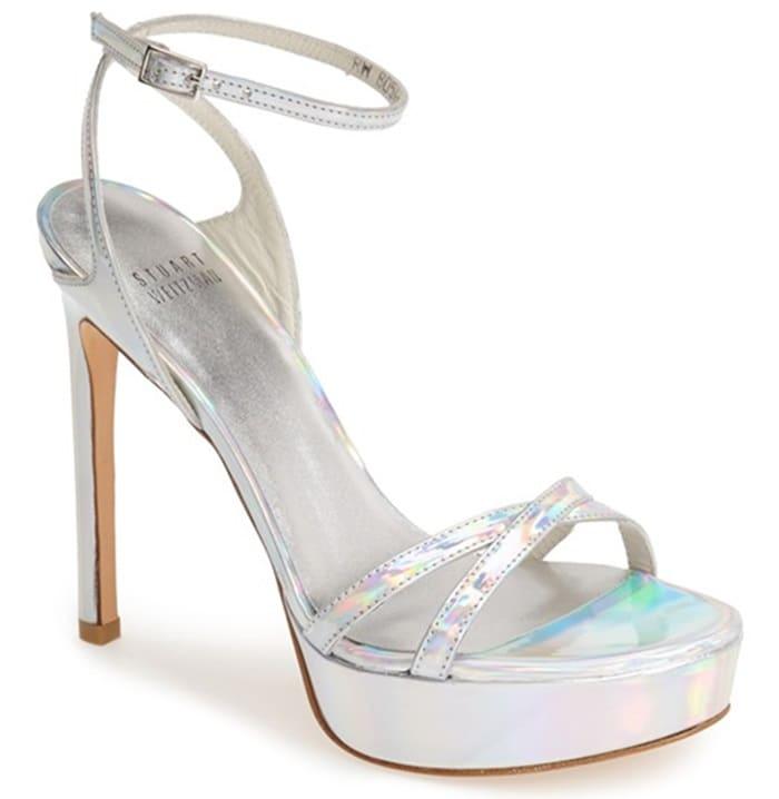 "Stuart Weitzman ""Bebare"" Sandals in Silver Specchio"