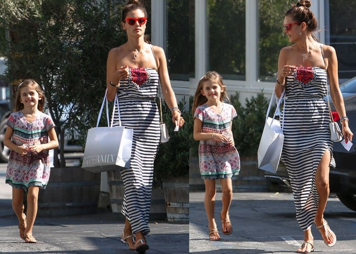 Alessandra Ambrosio and her daughter, Anja, go shopping after school in Los Angeles