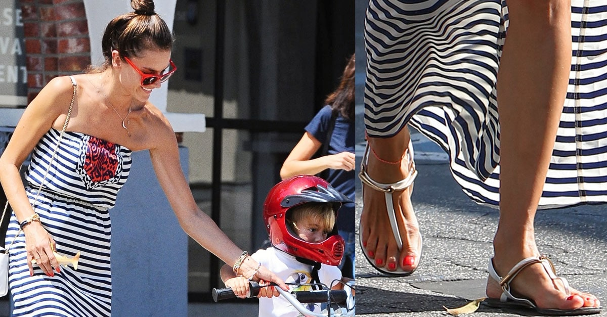 5da5947d9 Alessandra Ambrosio Takes Her Birthday Girl Out Shopping in Gucci Sandals