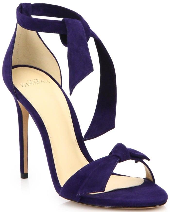 Alexandre Birman Purple Clarita Suede Ankle-Tie Sandals