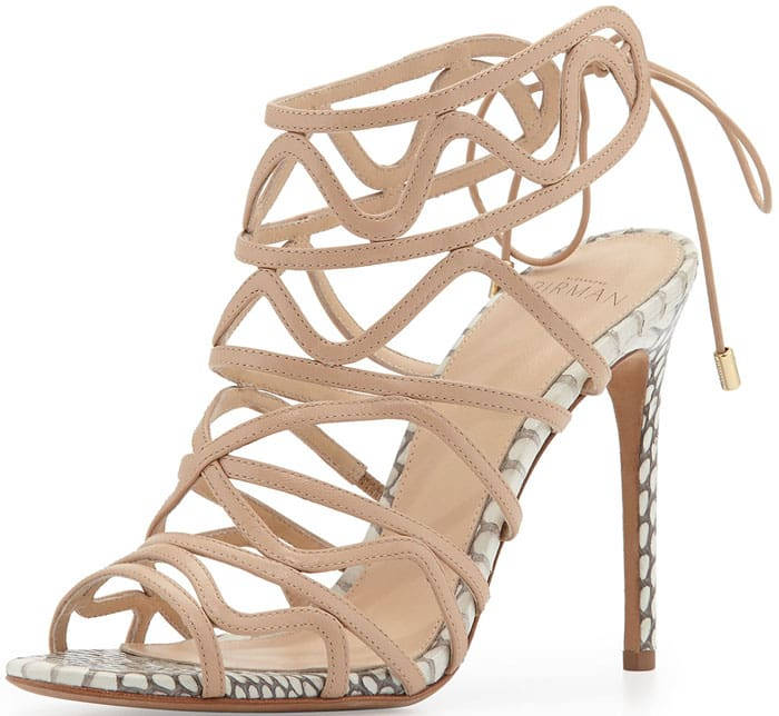 Alexandre Birman Snakeskin Leather Wavy Tie-Back Pump in Nude/Natural