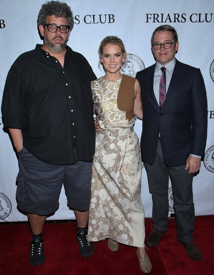 """Neil LaBute, Alice Eve, and Matthew Broderick pose at a screening of """"Dirty Weekend"""""""