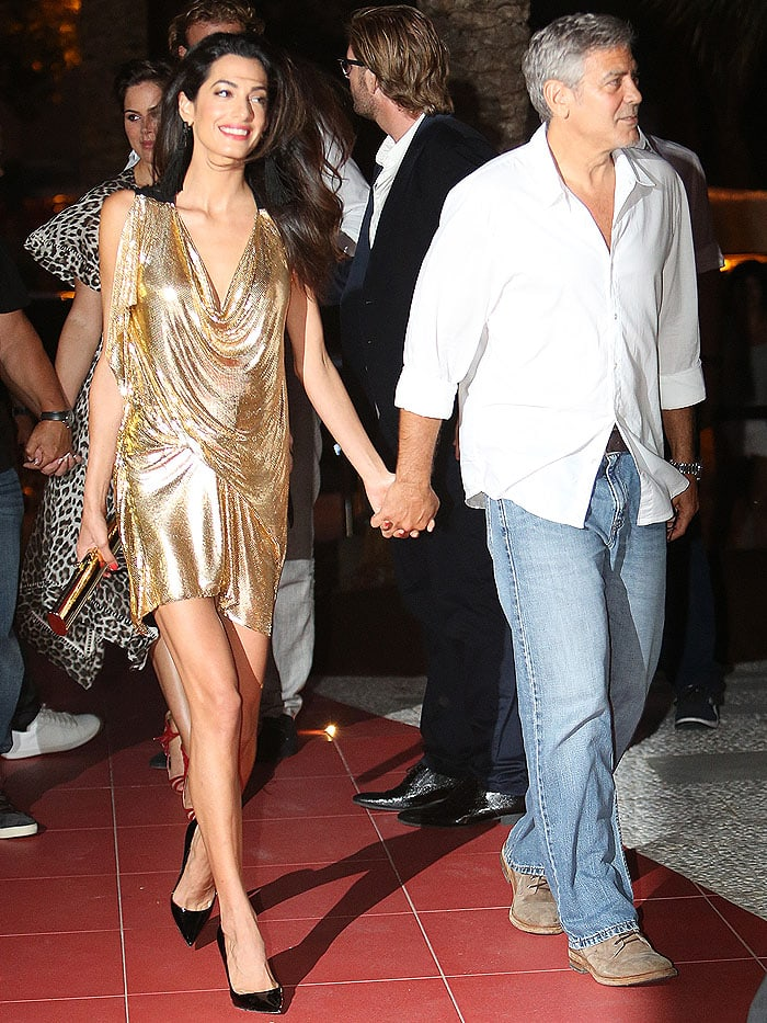 Amal Clooney and George Clooney arriving at the launch of George's tequila brandCasamigosat Ushuaia Ibiza Beach Hotel in Ibiza, Spain, on August 23, 2015