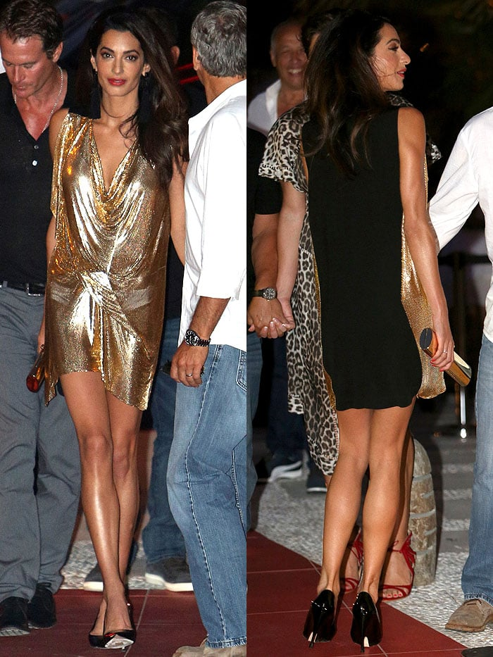Views of the gold metal mesh front and the black jersey back of Amal Clooney's Vionnet dress