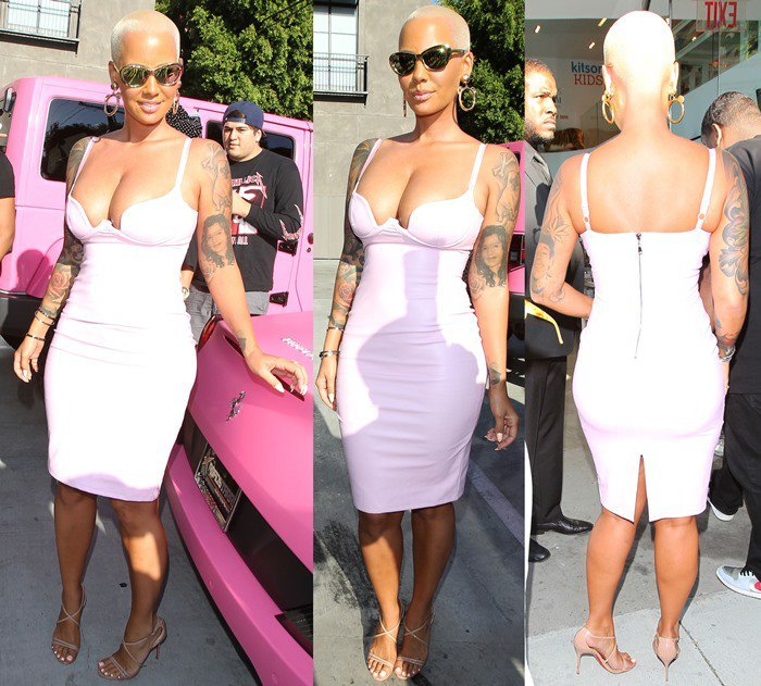 Amber Rose in a body-hugging ensemble that did not leave much to the imagination