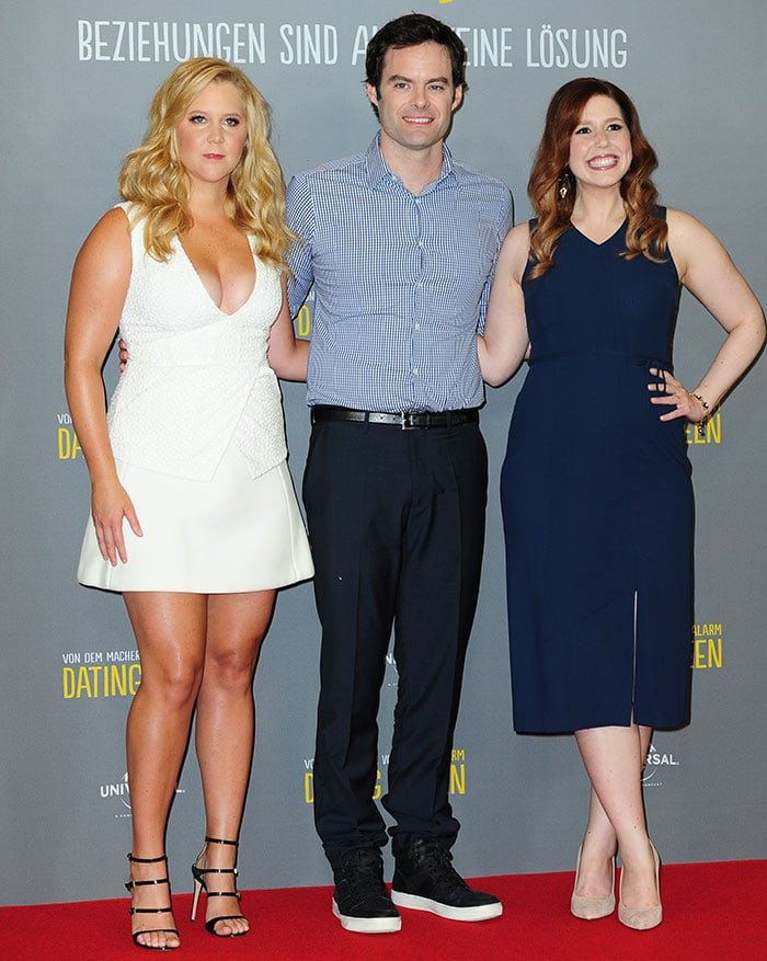 """Amy Schumer, Bill Hader, and Vanessa Bayer at the photocall for """"Dating Queen'"""" (Trainwreck)"""