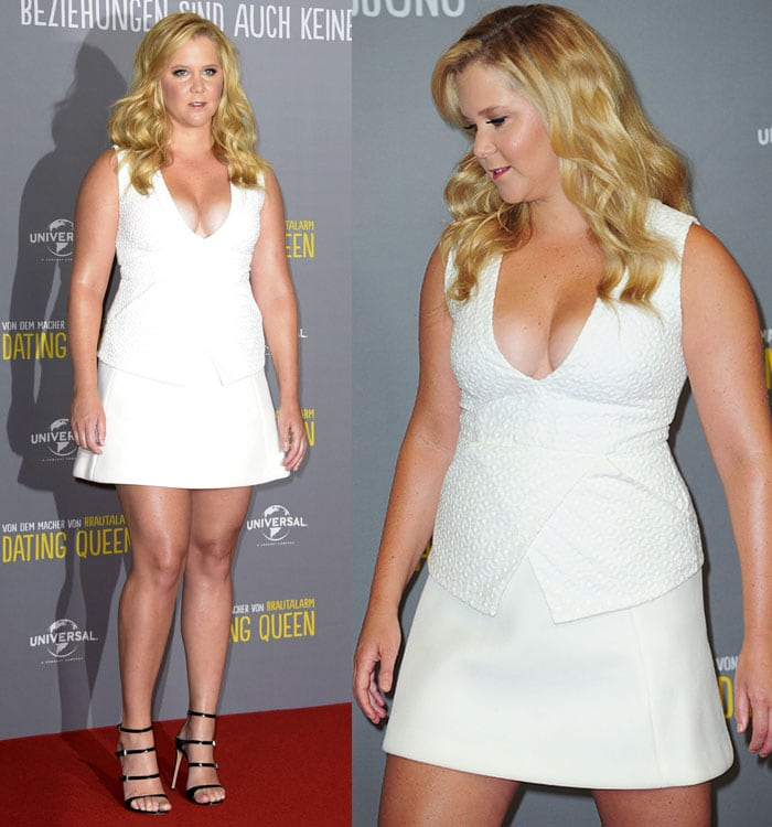 """Amy Schumer revealing cleavage in a plunging white outfit at the photocall for """"Dating Queen'"""" (Trainwreck)"""