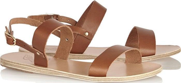 "Ancient Greek Sandals ""Clio"" Flat Sandals Brown Leather"