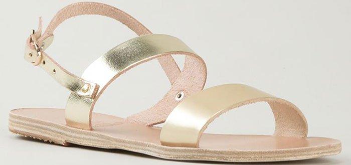 "Ancient Greek Sandals ""Clio"" Flat Sandals Metallic Gold"