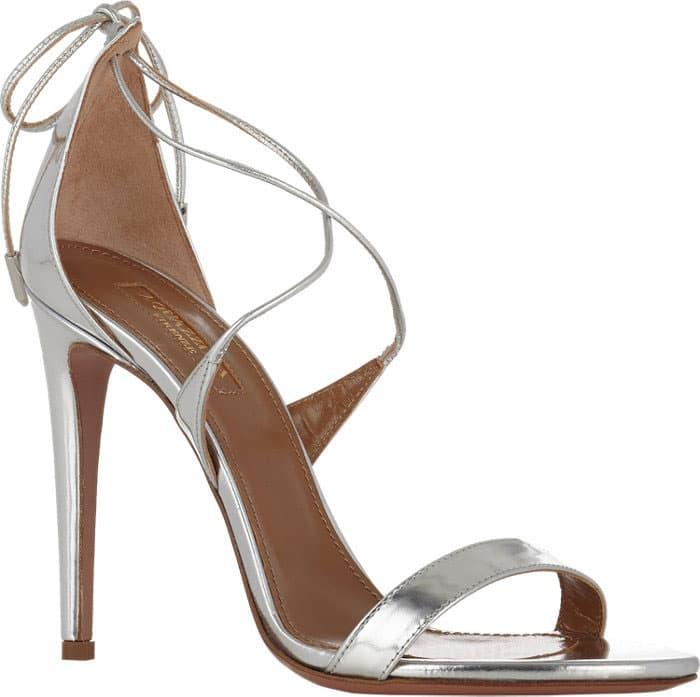 Aquazzura-Linda-Metallic-Silver-Crisscross-Sandals