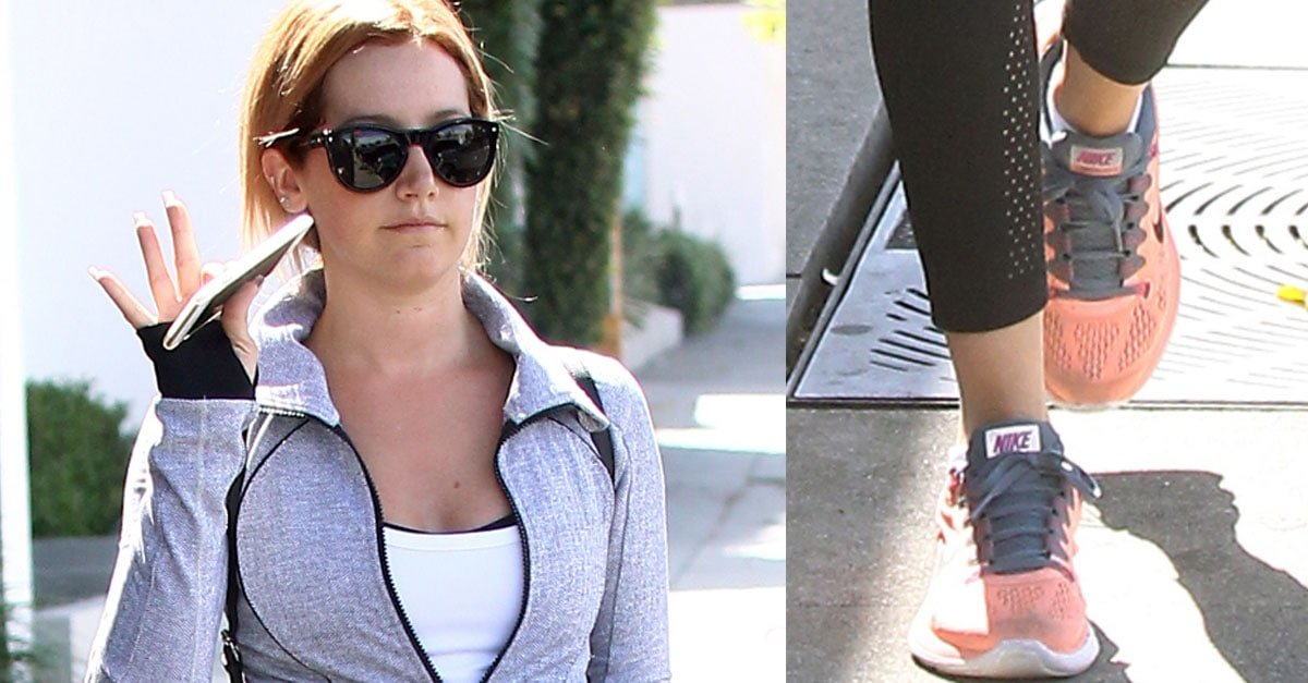 eb9285d8f37b8 Ashley Tisdale Leaves the Gym in Nike LunarGlide 5