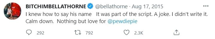 Bella Thorne denies dissing YouTube sensation PewDiePie
