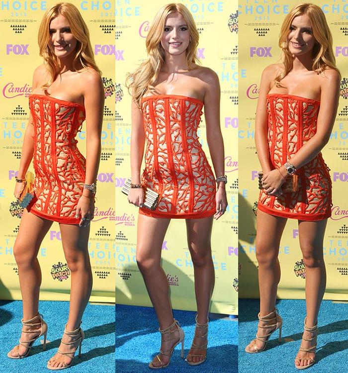Bella-Thorne-cleavage-legs-Balmain-strapless-mini