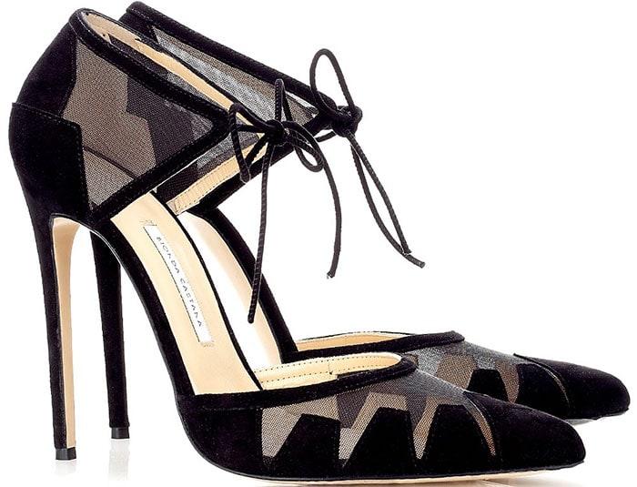 Bionda Castana Lana Mesh Ankle Tie Pumps Black
