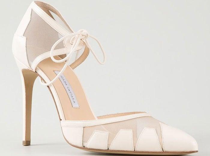 Bionda Castana Lana Mesh Ankle Tie Pumps
