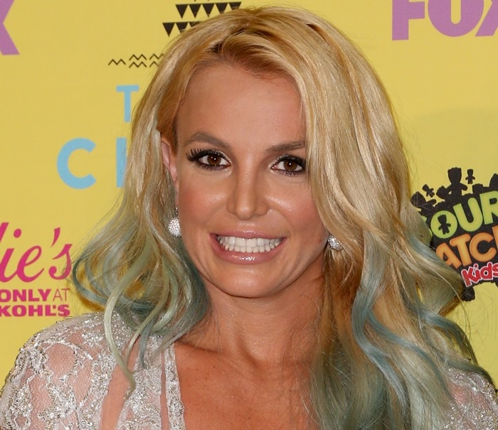 Britney Spears debuted her rainbow hair for the first time at a public event