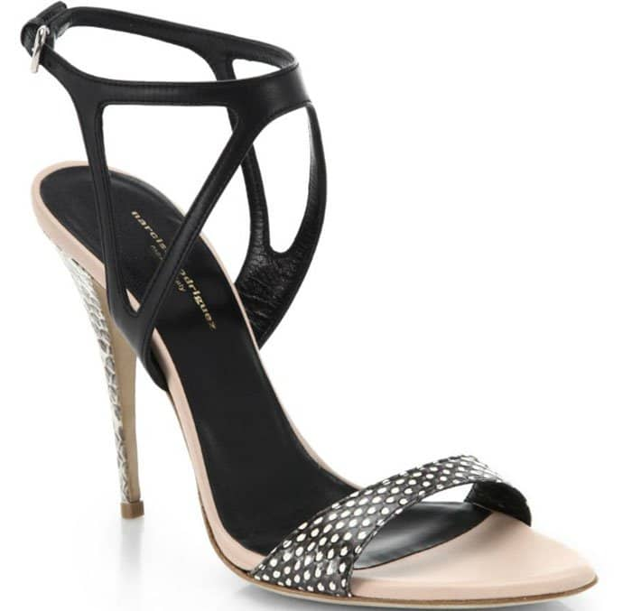 Narciso Rodriguez Carolyn Sandals Snake Embossed Leather Sandals