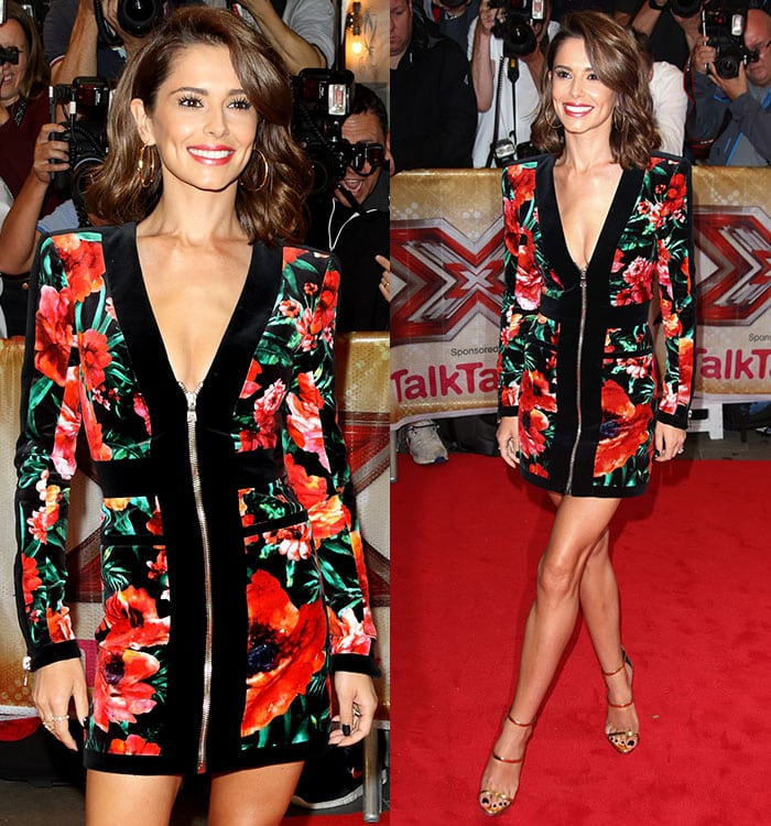Cheryl Fernandez-Versini's voluminous side-parted curly tresses and makeup with extra-long lashes
