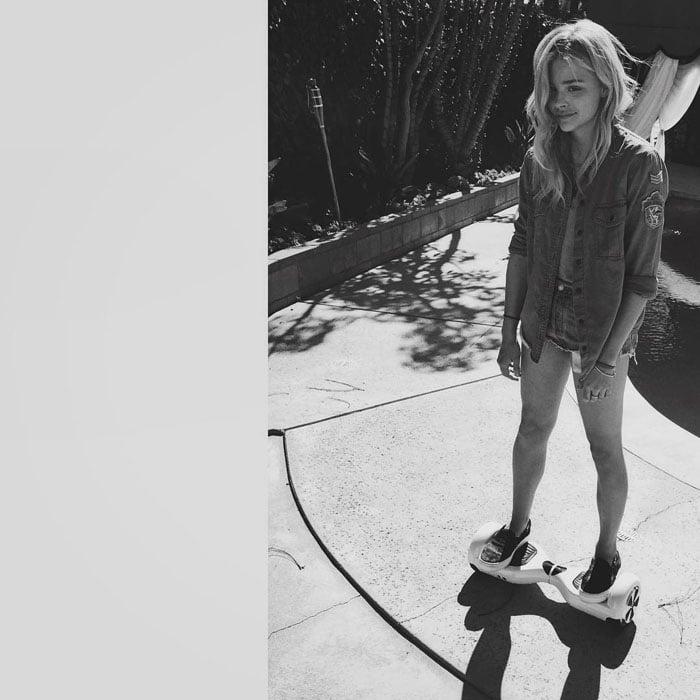 Chloë Moretz playing around in Beverly Hills