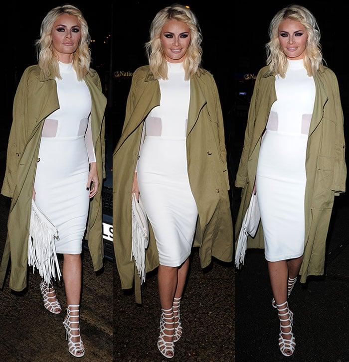 Chloe-Sims-White-Mesh-Panel-Dress-Zara-Trench-Coat-1