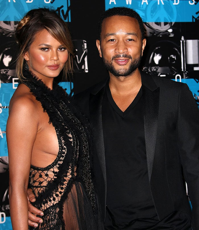 Chrissy Teigen and husband John Legend at the 2015 MTV Video Music Awards held at Microsoft Theater in Los Angeles on August 30, 2015