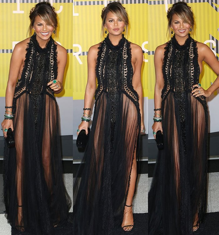 Chrissy Teigen went commando in a Marchesa gown at the 2015 MTV Video Music Awards