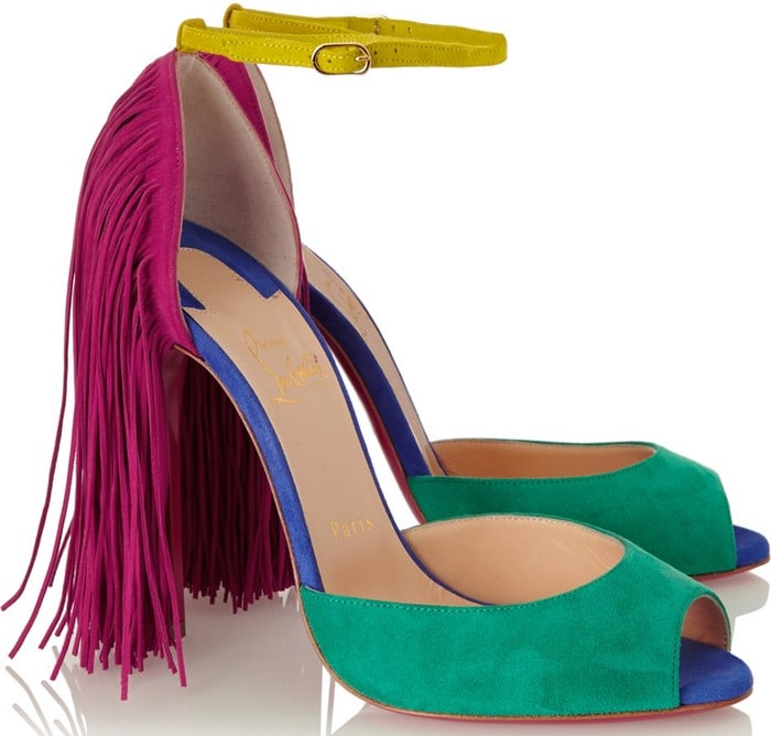 Christian Louboutin Otrot 120 fringed color-block suede sandals side