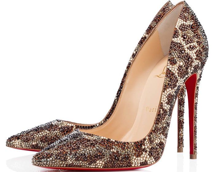 Christian Louboutin So Kate Leopard Crystal Pumps copy