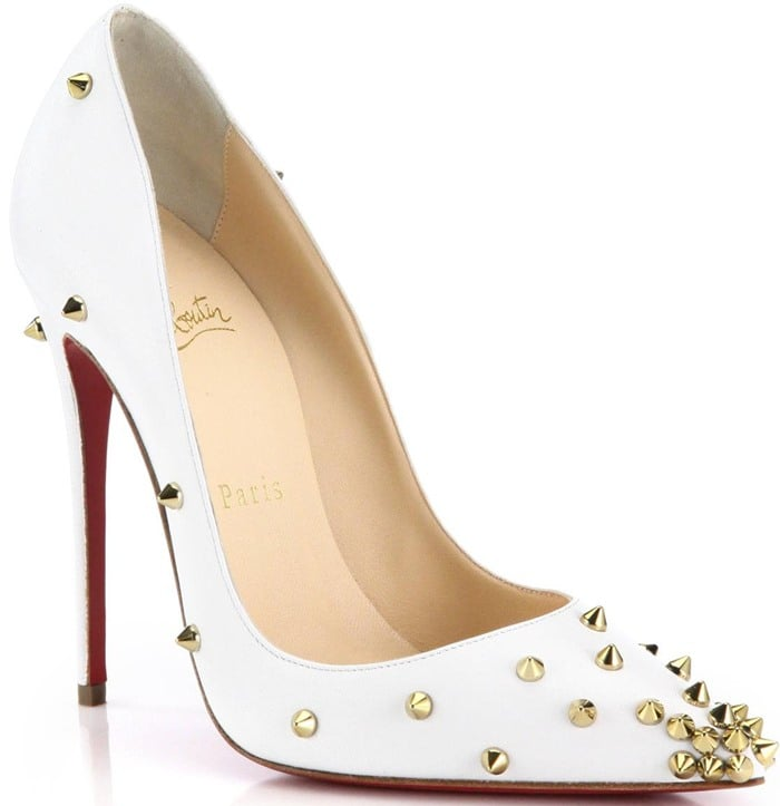 Christian Louboutin White Degraspike Studded Leather Pumps