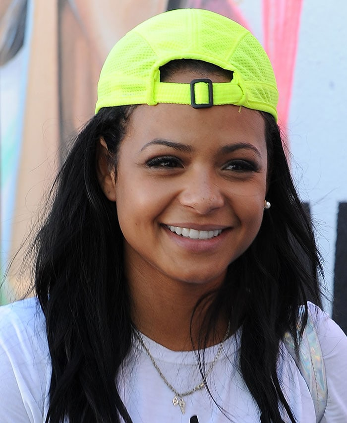 Christina-Milian-neon-baseball-cap-West-Hollywood