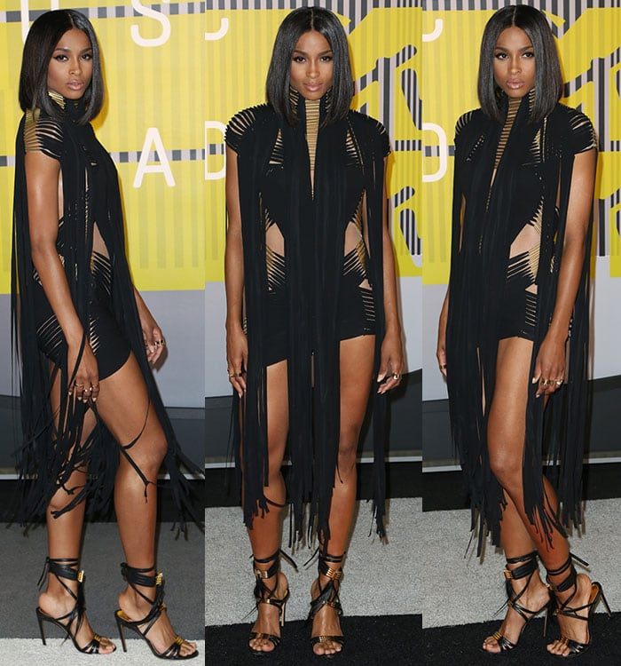 Ciara works her angles in an Alexandre Vauthier look on the carpet of the MTV VMAs