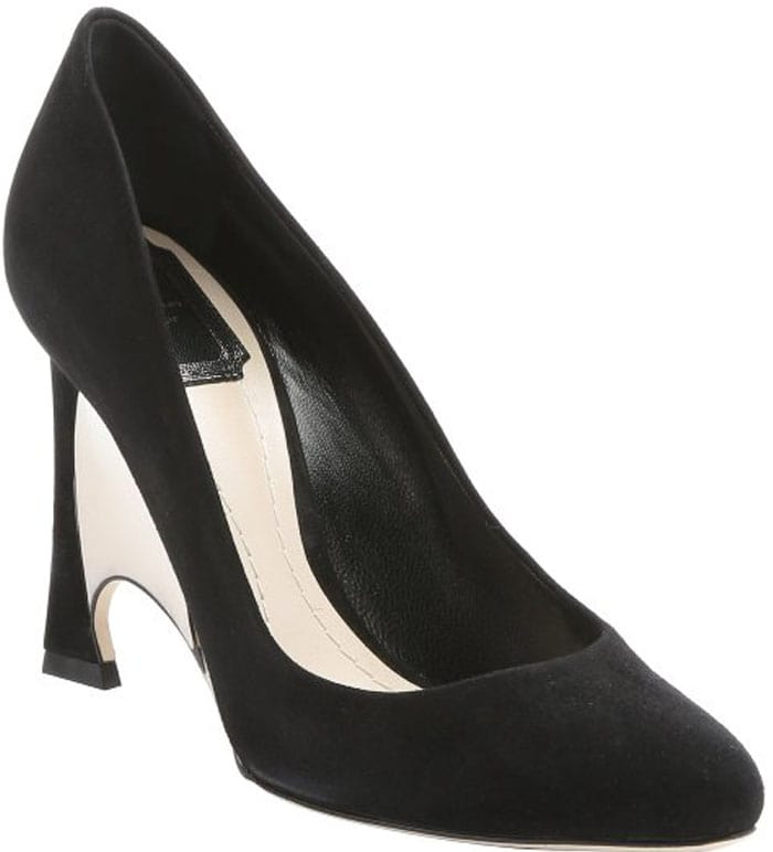 Christian Dior Black Suede 'Optique' Mirrored Wedge Heel Pumps