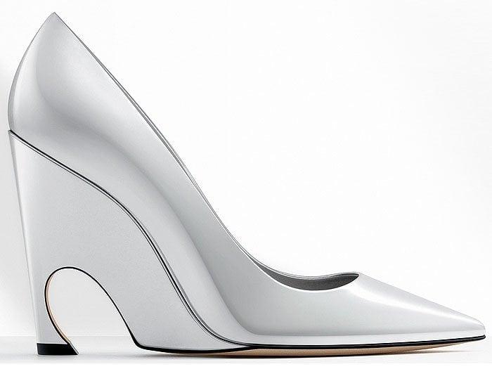 Dior silver metallic calfskin pumps