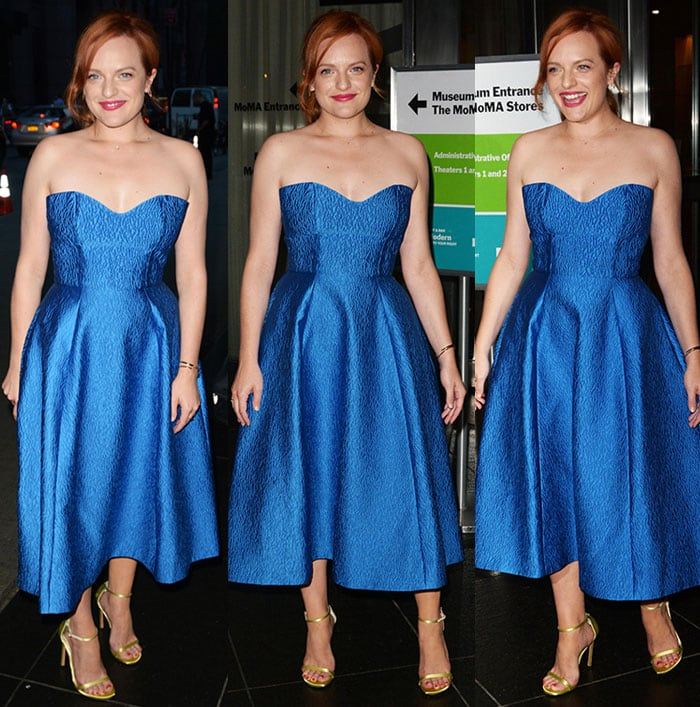 """Elisabeth Moss wore a metallic blue Monique Lhuillier dress at the premiere of """"Queen of Earth"""""""