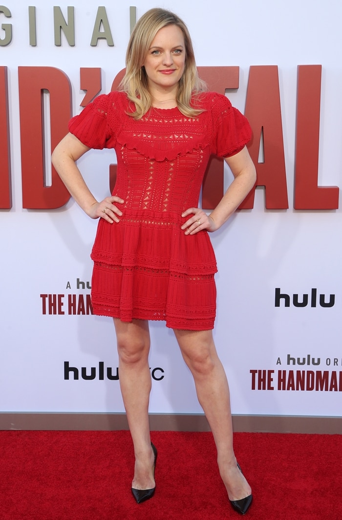Elisabeth Moss flaunted her long legs at the season three finale screening of The Handmaid's Tale