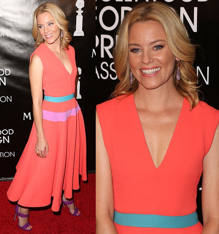 Elizabeth Banks showed off her amethyst drop earrings