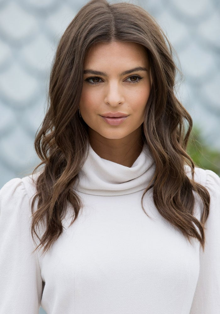 Emily Ratjkowski attends a promotional photo call at the BBC Radio 1 Studios