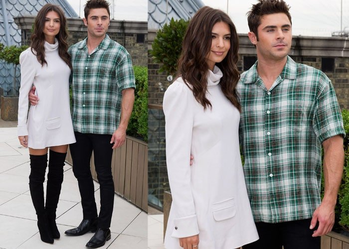 """Emily Ratajkowski and Zac Efron pose together at a photo call for their upcoming movie """"We Are Your Friends"""""""