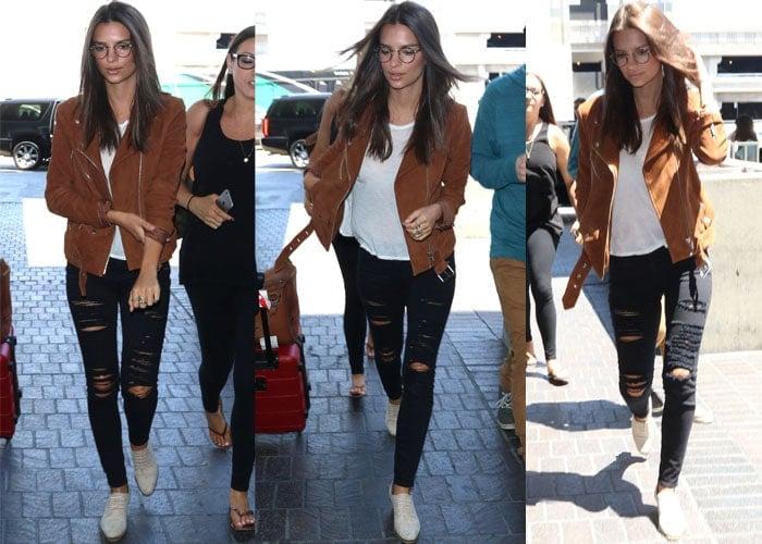 Makeup-free Emily Ratajkowski leavingLos Angeles International Airport (LAX) on a flight to London, England, on August 9, 2015