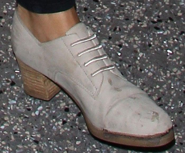 Emily Ratajkowski wearing suede derby shoes